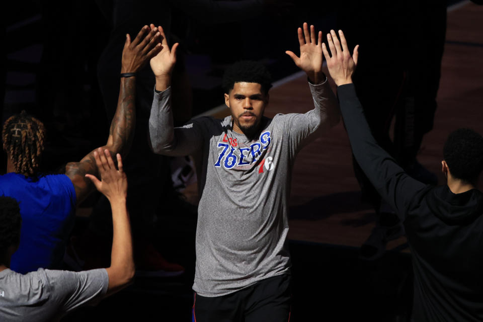 Tobias Harris #12 of the Philadelphia 76ers is introduced before the game against the Milwaukee Bucks at the Wells Fargo Center on March 17, 2021 in Philadelphia, Pennsylvania. NOTE TO USER: User expressly acknowledges and agrees that, by downloading and or using this photograph, User is consenting to the terms and conditions of the Getty Images License Agreement. (Photo by Corey Perrine/Getty Images)