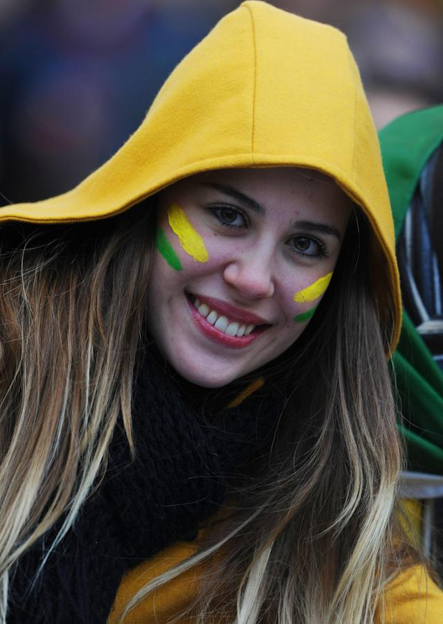 A Brazilian fan poses before the 2011 Copa America Group B first round football match between Brazil and Venezuela at the Ciudad de La Plata stadium in La Plata, 59 Km south of Buenos Aires, on July 3, 2011. AFP PHOTO / ANTONIO SCORZA (Photo credit should read ANTONIO SCORZA/AFP/Getty Images)