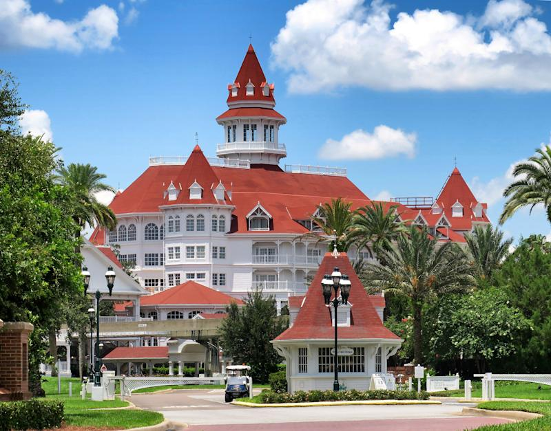 A view of Disney's Grand Floridian Resort main entrance, at Walt Disney World in Lake Buena Vista, Fla., Monday, June 22, 2020. (Joe Burbank/Orlando Sentinel/Tribune News Service via Getty Images)