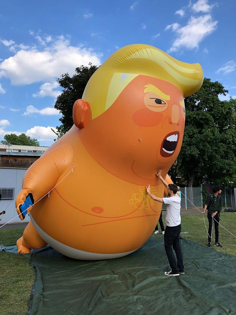 Trump baby blimp organizers during a dry run ahead of President Donald Trump's June 2019 visit to Britain.