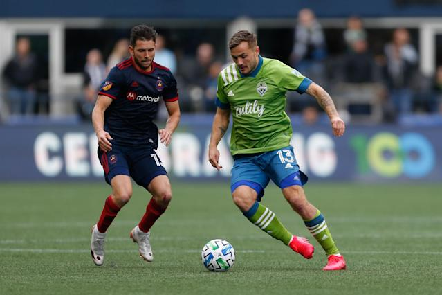Jordan Morris (right) has three goals and an assist in the Seattle Sounders's first three games of 2020. (Jennifer Buchanan/USA Today)