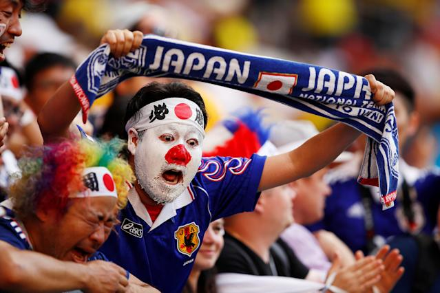 Soccer Football - World Cup - Group H - Colombia vs Japan - Mordovia Arena, Saransk, Russia - June 19, 2018 Japan fans celebrate after the match REUTERS/Jason Cairnduff TPX IMAGES OF THE DAY