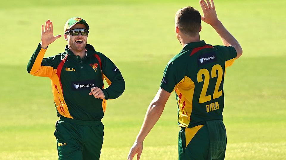 Mac Wright and Jackson Bird, pictured here celebrating after Jake Weatherald's dismissal.