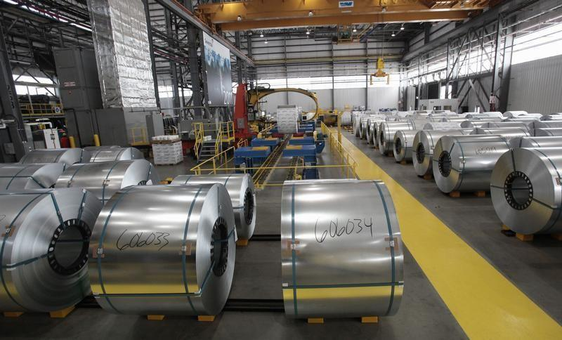 Steel coils wait to be shrink wrapped and shipped to customers at the Severstal steel mill in Dearborn, Michigan
