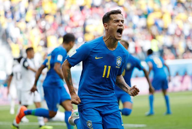 Soccer Football - World Cup - Group E - Brazil vs Costa Rica - Saint Petersburg Stadium, Saint Petersburg, Russia - June 22, 2018 Brazil's Philippe Coutinho celebrates scoring their first goal REUTERS/Max Rossi TPX IMAGES OF THE DAY