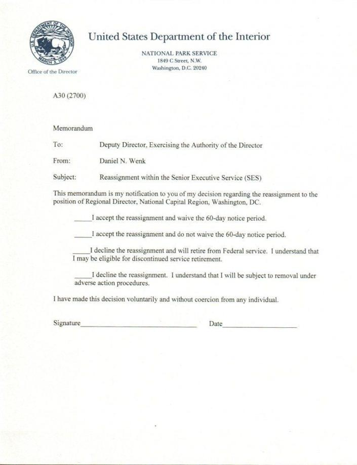 (Photo: Letter from the Interior Department)