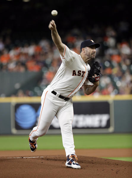 Houston Astros starting pitcher Justin Verlander throws against the Detroit Tigers during the first inning of a baseball game Wednesday, Aug. 21, 2019, in Houston. (AP Photo/David J. Phillip)