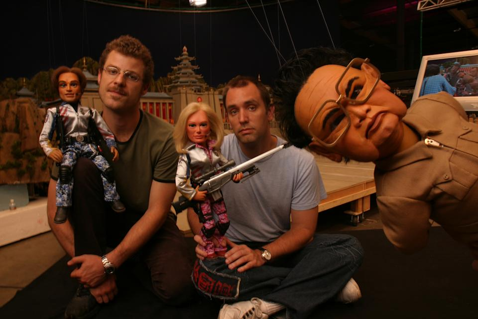 """Culver City, CA. Team America. Feature on the new movie Team America. This is the information The South Park guys Matt Stone (left) and Trey Parker (right) """"Team America: World Police"""" promises to be topical and controversial. Using wooden marionettes (as in the old Thunderbirds series), Matt Stone and Trey Parker have come up with as politcally–minded comedy action adventure about a group of superhero–style adventurers who travel the world fighting terrorism and other evils. Specifically, the story focuses on a typical action hero who is recruited to join Team America for a special mission, as a satire of the typical Hollywood action movie, using a combination of wood marionette–driven action sequences and stirring tongue–in–cheek musical numbers.  (Photo by Al Seib/Los Angeles Times via Getty Images)"""