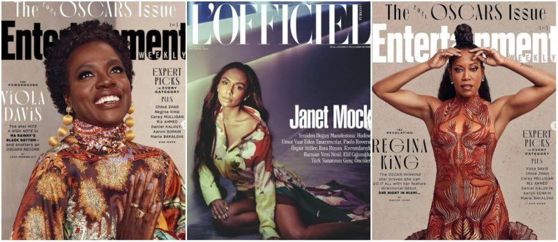 L-R: Viola Davis for Entertainment Weekly, Janet Mock for L'Officiel Turkey, and Regina King for Entertainment Weekly.