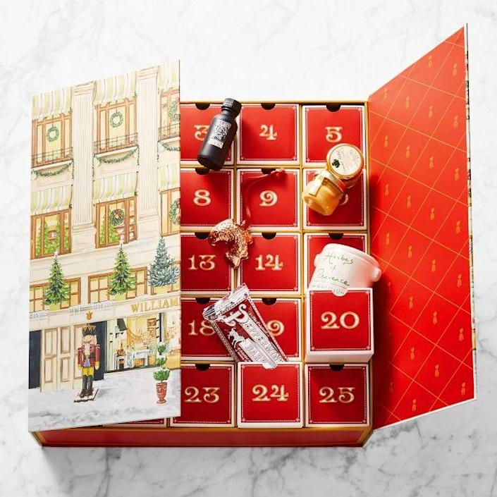 """<p>williams-sonoma.com</p><p><strong>$299.95</strong></p><p><a href=""""https://go.redirectingat.com?id=74968X1596630&url=https%3A%2F%2Fwww.williams-sonoma.com%2Fproducts%2Fwilliams-sonoma-chucks-luxury-advent-calendar&sref=https%3A%2F%2Fwww.townandcountrymag.com%2Fstyle%2Ffashion-trends%2Fnews%2Fg2970%2Ffancy-advent-calendars%2F"""" rel=""""nofollow noopener"""" target=""""_blank"""" data-ylk=""""slk:Shop Now"""" class=""""link rapid-noclick-resp"""">Shop Now</a></p><p>The perfect calendar for the foodie in your life, these doors are packed with the late Williams' Sonoma founder Chuck Williams's favorite treats like Bonne Maman preserves, Leonardi Aceto Balsamico, Pommery Dijon Mustard, Jacobsen Flaked Sea Salt, and Williams' Sonoma's famous Peppermint Bark. </p><p><strong>More:</strong> <a href=""""https://www.townandcountrymag.com/leisure/dining/g29576420/cooking-gifts/"""" rel=""""nofollow noopener"""" target=""""_blank"""" data-ylk=""""slk:Cooking Gifts for Foodies"""" class=""""link rapid-noclick-resp"""">Cooking Gifts for Foodies</a></p>"""