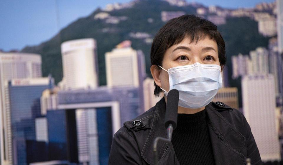 The Centre for Health Protection's Dr Chuang Shuk-kwan briefs the media on the coronavirus pandemic in a press conference last year. Photo: Warton Li