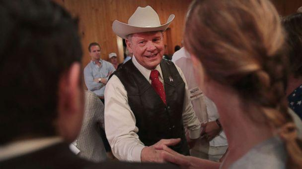 PHOTO: Republican candidate for the U.S. Senate in Alabama, Roy Moore, greets guests at a campaign rally on Sept. 25, 2017 in Fairhope, Ala. (Scott Olson/Getty Images)