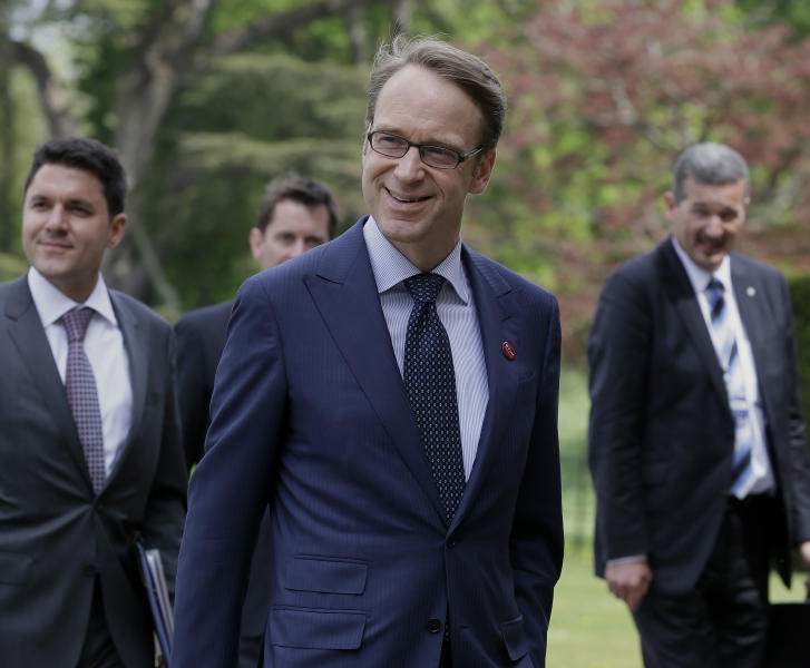 "Jens Weidmann, centre, President of Deutsche Bundesbank arrives at the G7 finance ministers and central bank governors meeting, in Aylesbury, England, Friday, May 10, 2013. The role of central banks in shoring up the global economic recovery is set to be a key point of discussion among top financial officials from the world's seven leading economies when they gather in the UK this weekend. In a statement Friday ahead of the Group of Seven's two-day meeting at a country house around 50 miles (80 kilometers) northwest of London, British finance minister George Osborne said the main task officials face over the coming two days is looking at how to ""nurture"" the recovery. (AP Photo/Alastair Grant, Pool)"