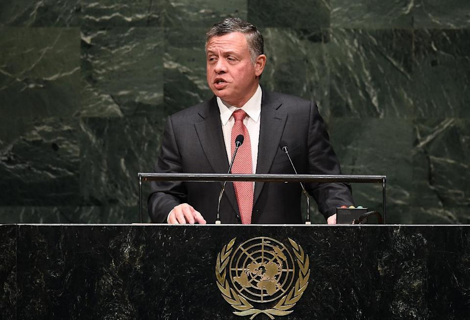 Jordan's King Abdullah II speaks during the UN General Assembly at the United Nations in New York, on September 24, 2014 (AFP Photo/Jewel Samad)