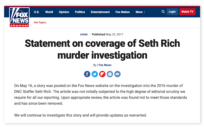 A screengrab of Fox News' retraction for their coverage of the death of Seth Rich.