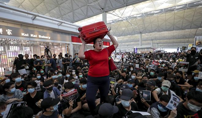 The anti-government protests at Hong Kong International Airport on August 13. Photo: Sam Tsang