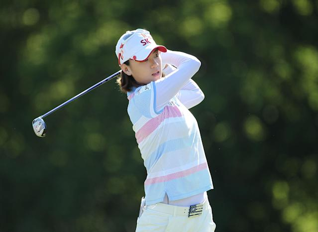 KOHLER, WI - JULY 08: Na Yeon Choi of South Korea hits her tee shot on the par 4 18th hole during the final round the 2012 U.S. Women's Open at Blackwolf Run on July 8, 2012 in Kohler, Wisconsin. (Photo by Andy Lyons/Getty Images)