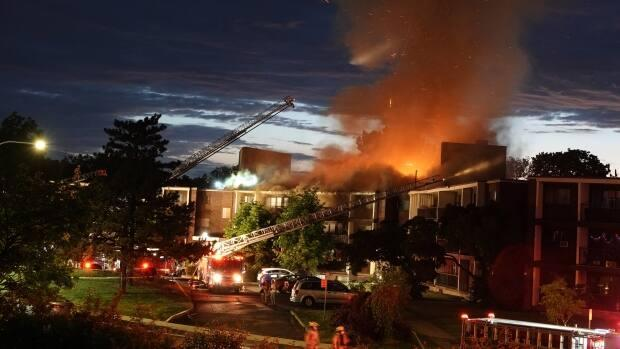 About 150 firefighters battled a fire overnight in Dollard-des-Ormeaux.