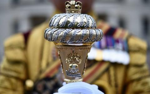 <span>The mace of Drum Major Staite at Wellington Barracks</span> <span>Credit: Kirsty O'Connor /PA </span>