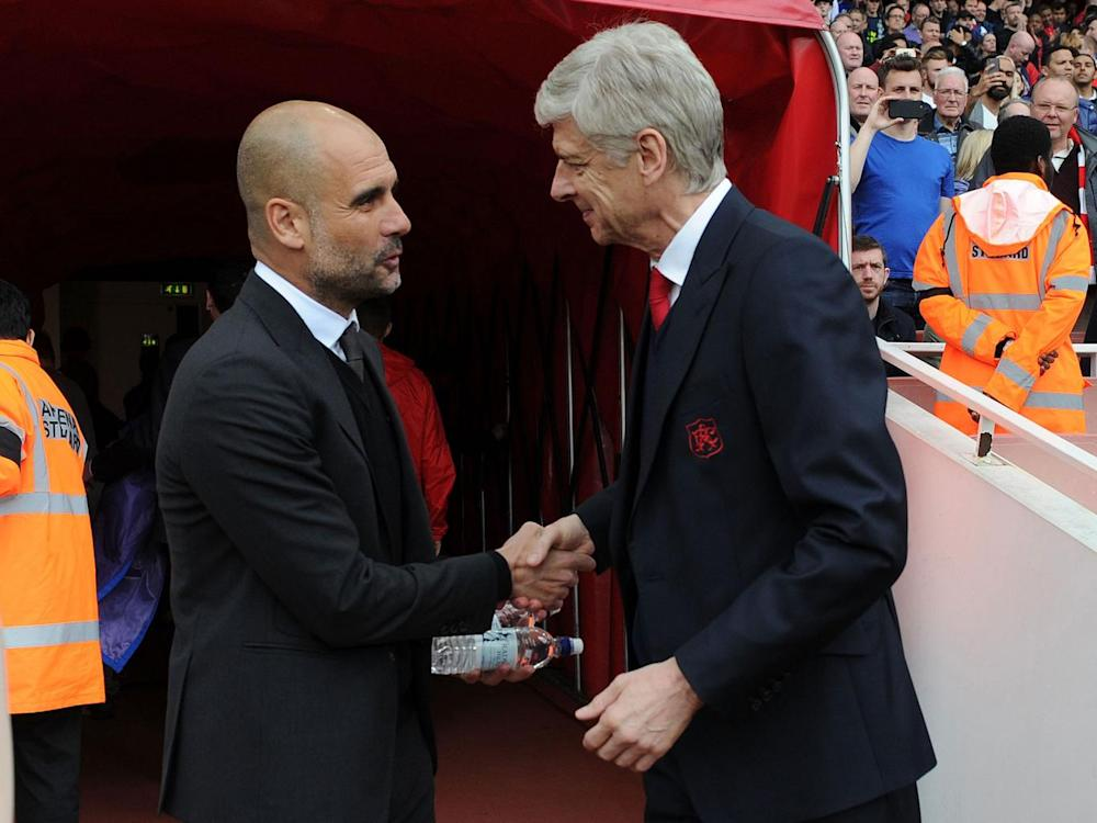 Guardiola with Wenger before kick-off (Getty)