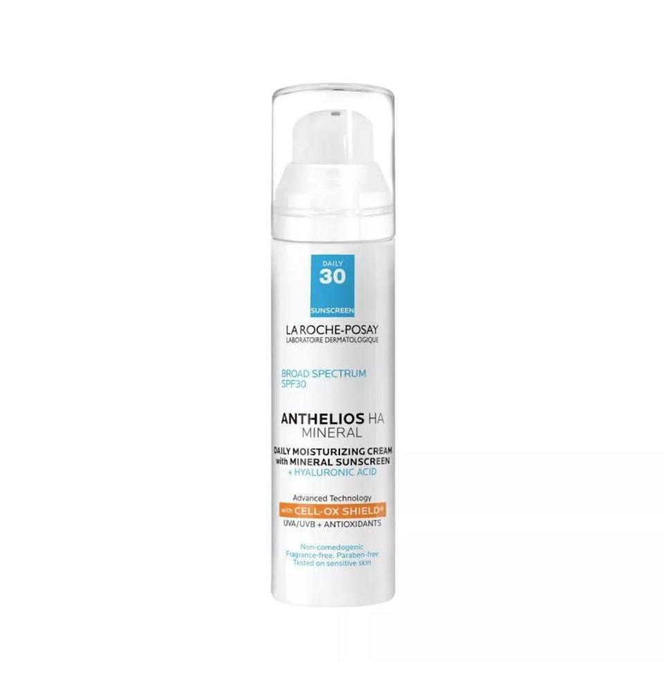 <p>The <span>La Roche-Posay Anthelios HA Sunscreen</span> ($35) is a customer favorite. The formula is made with SPF 30 to offer UV protection, but it's also lightweight and contains hyaluronic acid for a hydrating and moisturized finish.</p>