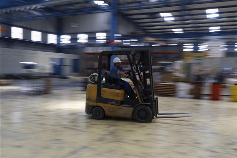 A forklift is seen at TIM stainless steel wire factory in Huamantla, in the Mexican state of Tlaxcala
