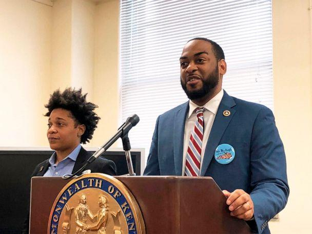 PHOTO: In this Jan. 29, 2020, file photo, Kentucky state Rep. Charles Booker, right, promotes a voting-rights measure in Frankfort, Ky. (Bruce Schreiner/AP, FILE)