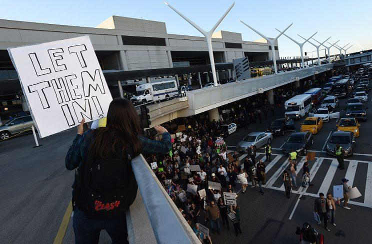 Protesters rally against the Muslim immigration ban imposed by U.S. President Donald Trump at Los Angeles International Airport on January 29, 2017 in Los Angeles, California. (Photo by Amanda Edwards/Getty Images)