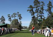 Danny Willett of England plays a tee shot during a practice round prior to the start of the 2017 Masters Tournament, at Augusta National Golf Club in Georgia, on April 4 (AFP Photo/Rob Carr)