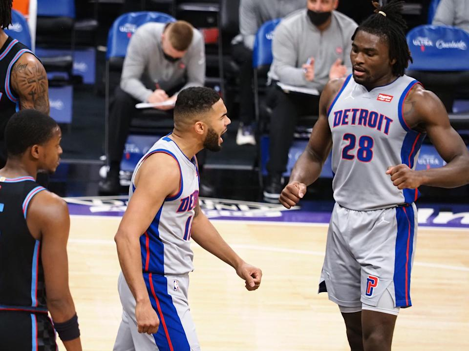 Detroit Pistons guard Cory Joseph (18) celebrates with forward-center Isaiah Stewart (28) after a play against the Sacramento Kings during the second quarter April 8, 2021 at Golden 1 Center.