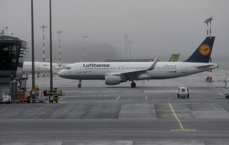 A Lufthansa aircraft moves on the tarmac of Riga International Airport in Riga