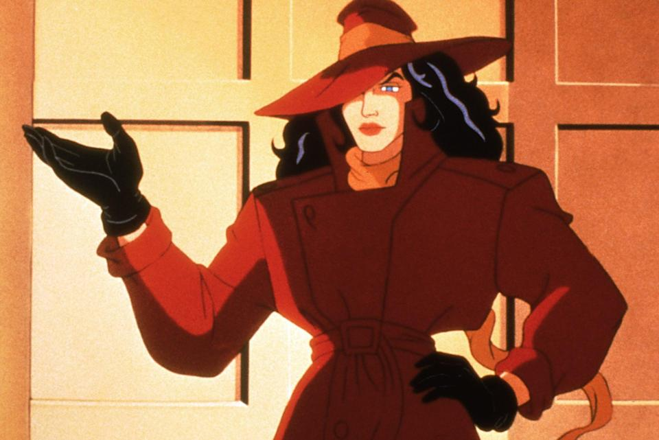 <p>If you're going to be the mysterious dame of <b>Where in the World Is Carmen Sandiego?</b>, then you'll need to hide under a red trench and floppy hat, don all black underneath, and hold a magnifying glass.</p>