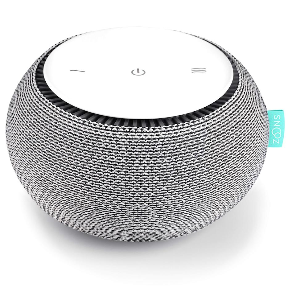"""<strong><h3>Snooz Portable Sleep Sound Machine</h3></strong><br>This top-rated white noise machine boasts 4.7 out of 5 stars on Amazon with rave reviews starting at, """"The Snooz machine has been the most amazing little machine to help me get a high-quality night of sleep,"""" and not ending with, """"This has the best sound of any white noise in the market."""" The portable gadget emits a non-looping white noise experience generated from a real fan inside the device that can be seamlessly controlled through an accompanying smart phone app.<br><br><em>Shop </em><strong><em><a href=""""https://amzn.to/39Qwwxc"""" rel=""""nofollow noopener"""" target=""""_blank"""" data-ylk=""""slk:Snooz"""" class=""""link rapid-noclick-resp"""">Snooz</a></em></strong><br><br><strong>SNOOZ</strong> White Noise Sound Machine, $, available at <a href=""""https://amzn.to/39Qwwxc"""" rel=""""nofollow noopener"""" target=""""_blank"""" data-ylk=""""slk:Amazon"""" class=""""link rapid-noclick-resp"""">Amazon</a>"""