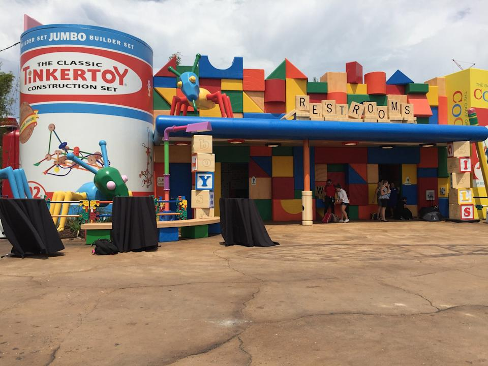 Even the restrooms look like they were assembled from Andy's toys at Toy Story Land.