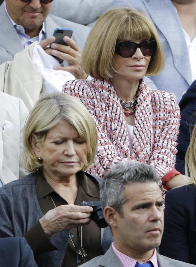 Martha Stewart, left, and Anna Wintour watch play between Rafael Nadal, of Spain, and Novak Djokovic, of Serbia, during the men's singles final of the 2013 U.S. Open tennis tournament, Monday, Sept. 9, 2013, in New York. (AP Photo/David Goldman)