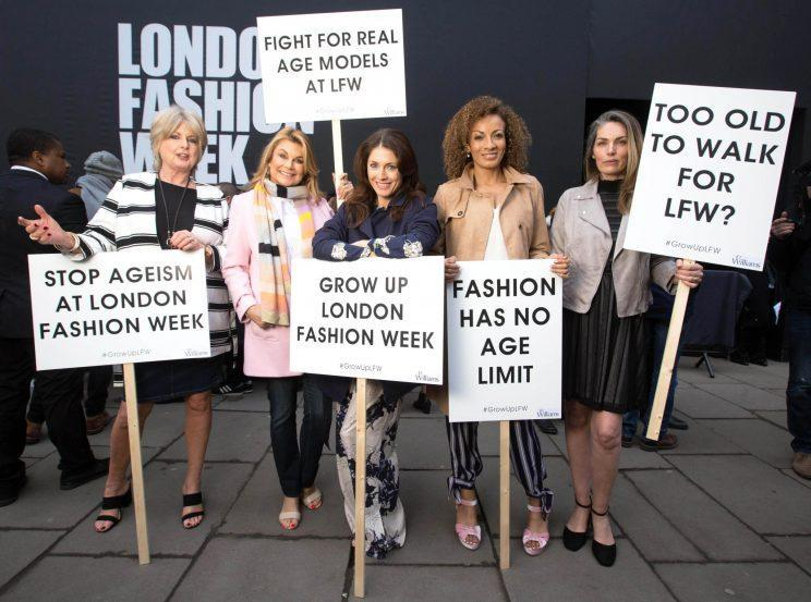 <i>Five women took to London Fashion Week to protest ageism in the fashion industry [Photo: PA]</i>