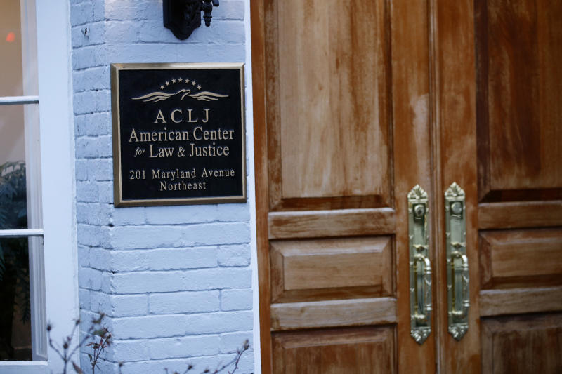 A sign marks the entrance to the American Center for Law and Justice, a non-profit Christian legal advocacy non-profit, Friday, Jan. 24, 2020, in Washington.  Jay Sekulow, one of President Donald Trump's lead attorneys during the impeachment trial, is registered as chief counsel at the ACLJ.  (AP Photo/Patrick Semansky)