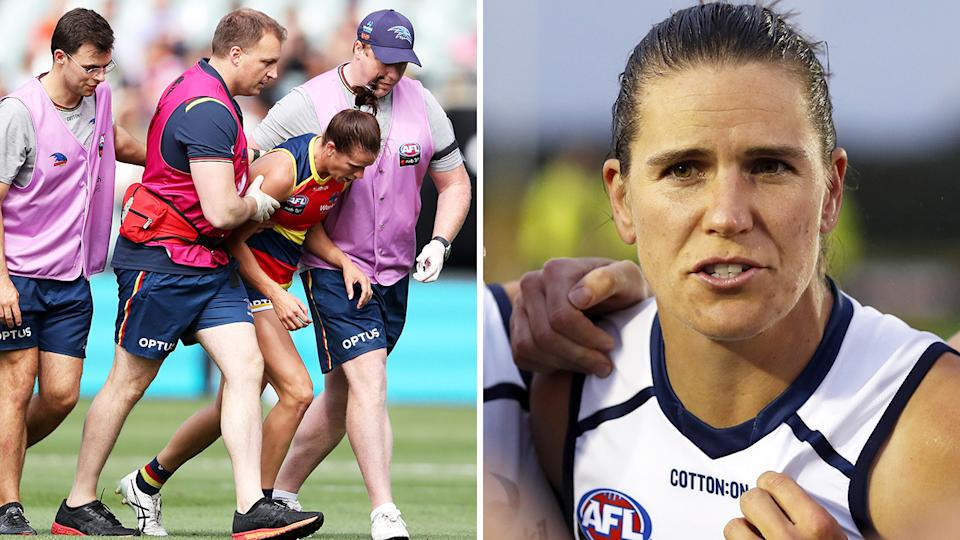 Adelaide Crows captain Chelsea Randall has been praised for her vocal stance in support of the AFLW's concussion rules, after copping a head knock in last week's preliminary final against Melbourne. Pictures: Getty Images