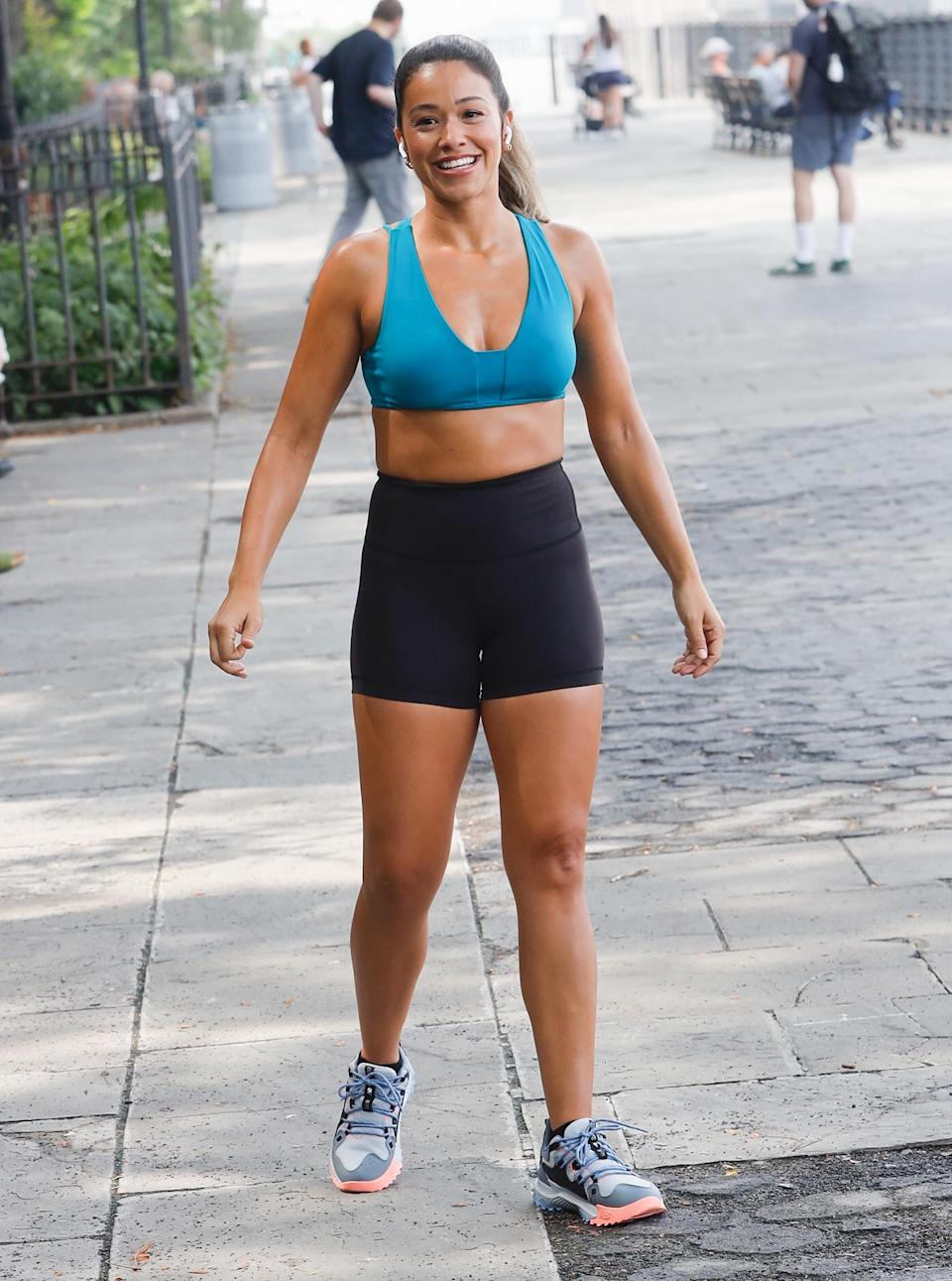 <p>Gina Rodriguez films in N.Y.C. on July 26.</p>