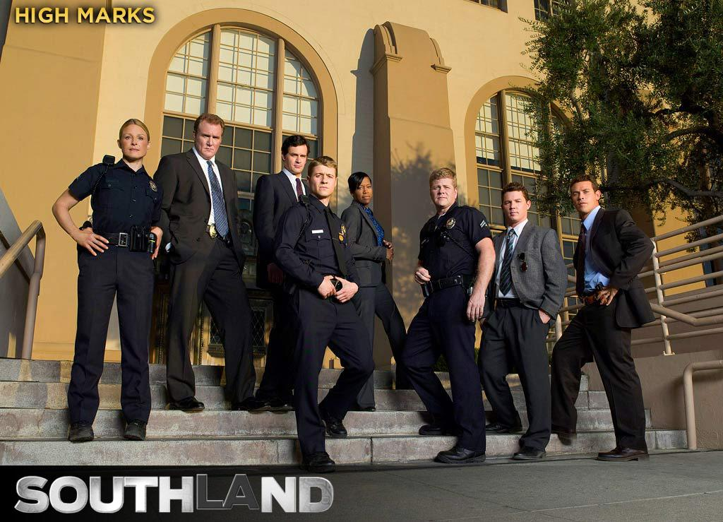 "HIGH MARKS: A cop drama that focuses on beat officers working realistic cases, instead of glamorous detectives solving the strangest crimes ripped from the headlines, ""Southland"" benefits from an empathetic cast and tight, smart dialogue. Somehow it also manages to be funny. It captures perfectly the bright but congested, smoggy feel of Los Angeles at its worst."