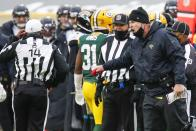 Jacksonville Jaguars head coach Doug Marrone argues a call during the second half of an NFL football game against the Green Bay Packers Sunday, Nov. 15, 2020, in Green Bay, Wis. The Packers won 24-20. (AP Photo/Matt Ludtke)
