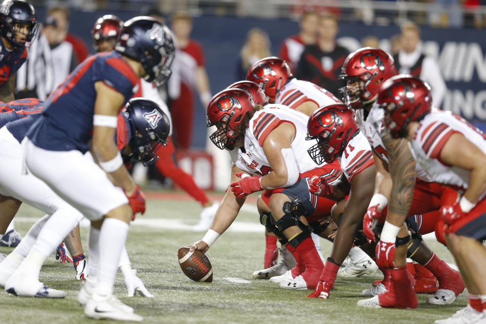Utah offensive lineman Orlando Umana (50) in the first half during an NCAA college football game against Arizona, Saturday, Nov. 23, 2019, in Tucson, Ariz. (AP Photo/Rick Scuteri)