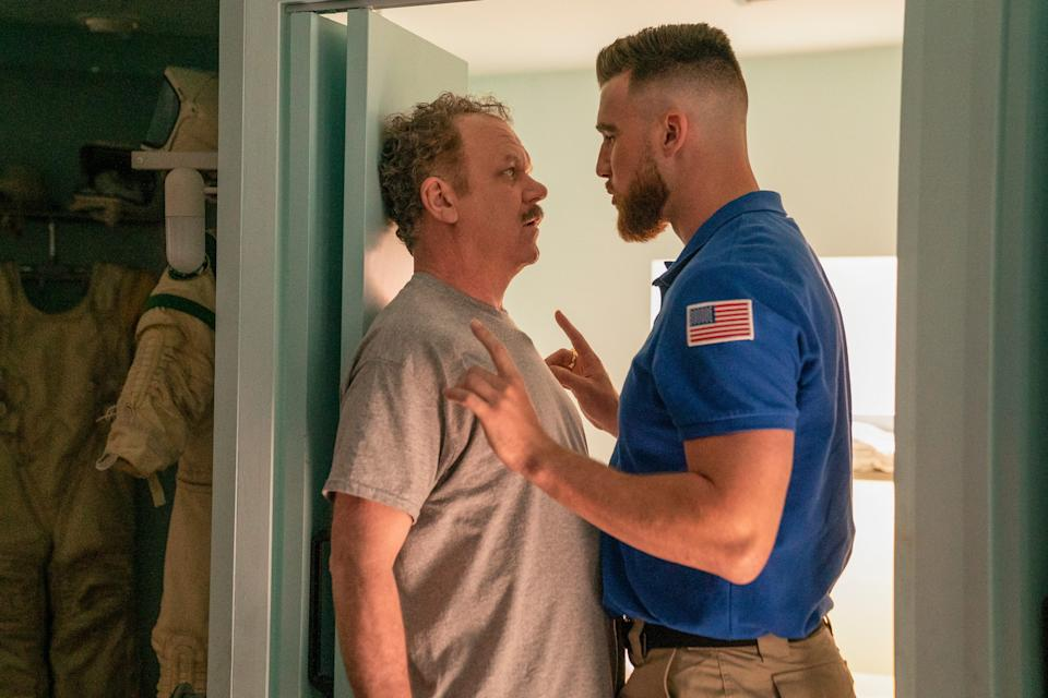 """Cap (John C. Reilly), left, may be the """"Moonbase 8"""" team leader, but Kansas City Chiefs tight end Travis Kelce, playing himself as a fellow would-be astronaut, is calling the shots on the Showtime comedy."""