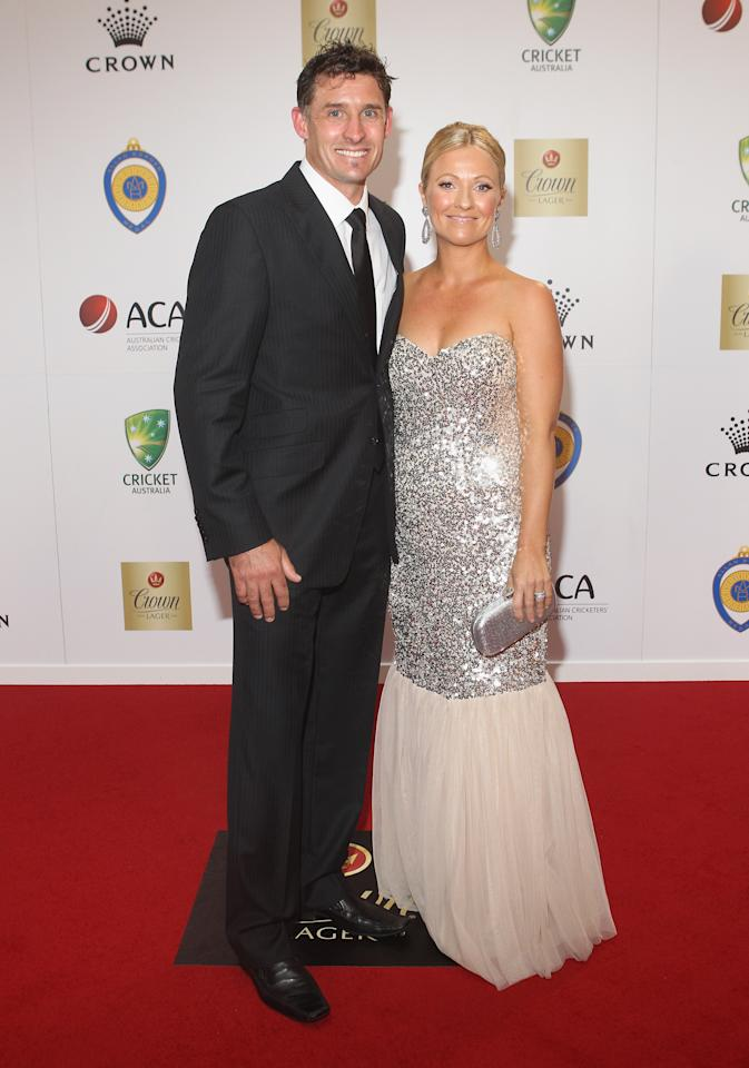 MELBOURNE, AUSTRALIA - FEBRUARY 27: Mike Hussey and Amy Hussey arrive at the 2012 Allan Border Medal Awards at Crown Palladium on February 27, 2012 in Melbourne, Australia.  (Photo by Lucas Dawson/Getty Images)