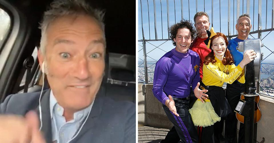 Side by side image of Blue Wiggle Anthony Field and the Wiggles members Anthony Field, Emma Watkins, Lachlan Gillespie and Simon Price of