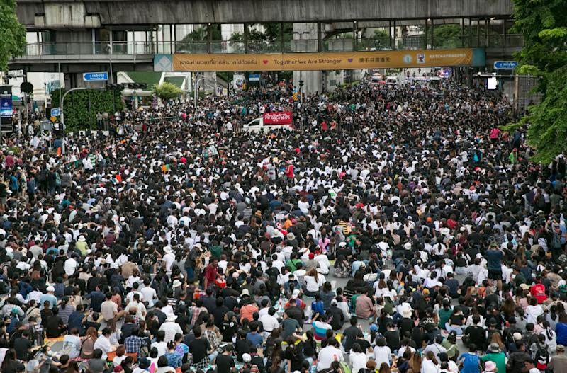 Protesters attend a rally October 15, 2020 in Bangkok, Thailand.