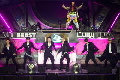 Monsta X and Steve Aoki performing at MDL Beast, a three-day festival in Riyadh, Saudi Arabia, bringing together the best in music, performing arts and culture. (PRNewsfoto/MDL Beast Festival)