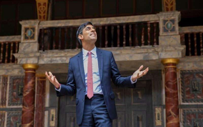 Centre-stage: Rishi Sunak visits Shakespeare's Globe theatre after the Government announced a £1.57 billion support package to help arts venues - SIMON WALKER/HM TREASURY