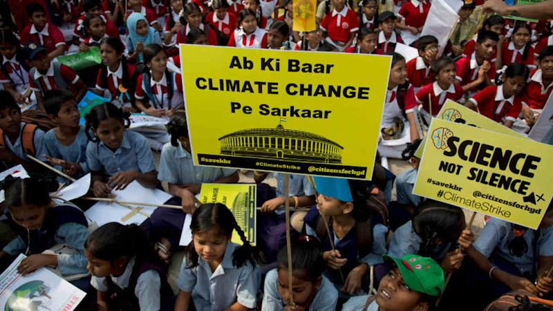 Indian students participate in a climate protest in Hyderabad, India. Image credit: : AP