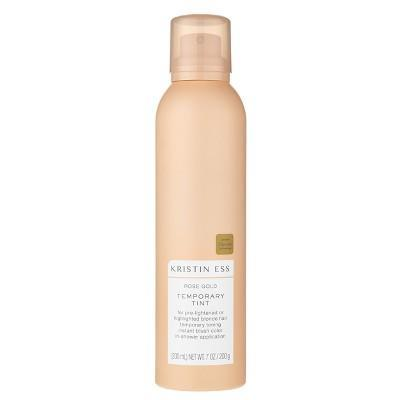"""<h3>Kristin Ess Rose Gold Temporary Tint </h3> <br>If you're looking for a no-commitment pink tint that will fade over time with shampoo, add this celebrity colorist-developed spray to <a href=""""https://www.refinery29.com/en-us/2020/05/9755993/target-hair-accessories-scrunchies-headbands-spring-2020"""" rel=""""nofollow noopener"""" target=""""_blank"""" data-ylk=""""slk:your next Target order."""" class=""""link rapid-noclick-resp"""">your next Target order.</a><br><br><strong>Kristin Ess</strong> Rose Gold Temporary Tint, $, available at <a href=""""https://go.skimresources.com/?id=30283X879131&url=https%3A%2F%2Fwww.target.com%2Fp%2Fkristin-ess-rose-gold-temporary-tint-7oz%2F-%2FA-52567714%3Fref%3Dtgt_adv_XS000000%26AFID%3Dgoogle_pla_df%26fndsrc%3Dtgtao%26CPNG%3DPLA_Health%252BBeauty%252BShopping_Local%26adgroup%3DSC_Health%252BBeauty%26LID%3D700000001170770pgs%26network%3Dg%26device%3Dc%26location%3D9004091%26gclsrc%3Daw.ds%26ds_rl%3D1246978%26ds_rl%3D1247077%26ds_rl%3D1246978%26ref%3Dtgt_adv_XS000000%26AFID%3Dgoogle_pla_df%26CPNG%3DPLA_Health%2BBeauty%2BShopping_Local%26adgroup%3DSC_Health%2BBeauty%26LID%3D700000001170770pgs%26network%3Dg%26device%3Dc%26location%3D9004091%26gclid%3DCj0KCQiAg_HhBRDNARIsAGHLV51atBW5SEg1UEpbRAD4tQHcjFE5IbJ7qGGkrwR50z8ErLyFPpU5BEsaAs02EALw_wcB%26gclsrc%3Daw.ds"""" rel=""""nofollow noopener"""" target=""""_blank"""" data-ylk=""""slk:Target"""" class=""""link rapid-noclick-resp"""">Target</a><br>"""